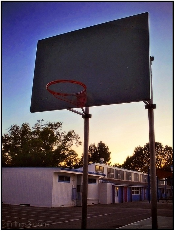elementary school playground basketball hoop backb