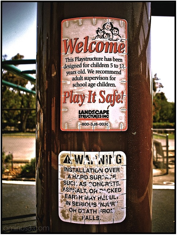 playground safety danger sign