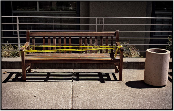 bench caution tape sign