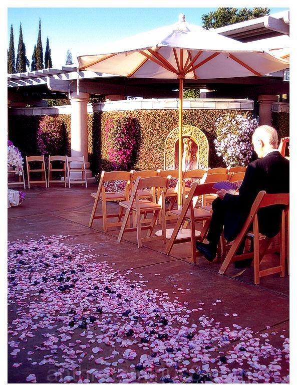 wedding ceremony flower petals chairs