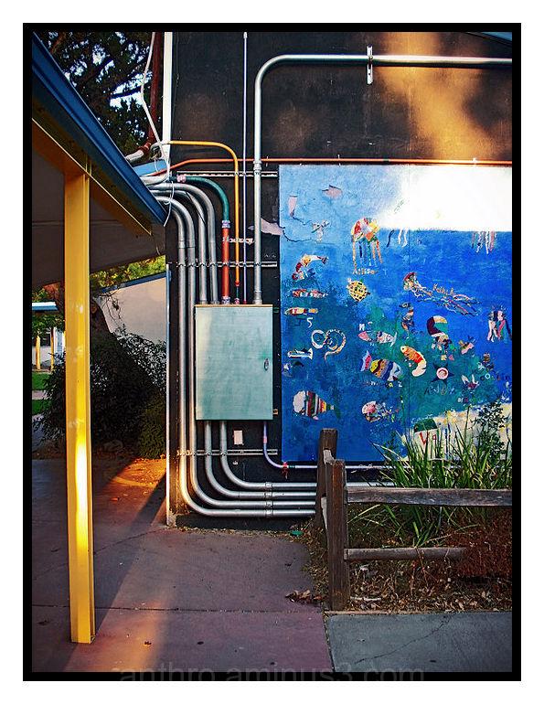 elementary school building wall art garden plants