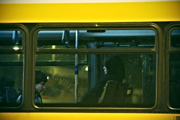 bus with passengers at night