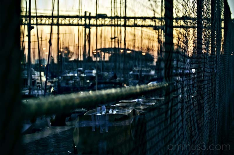 fence next to a port at sunset