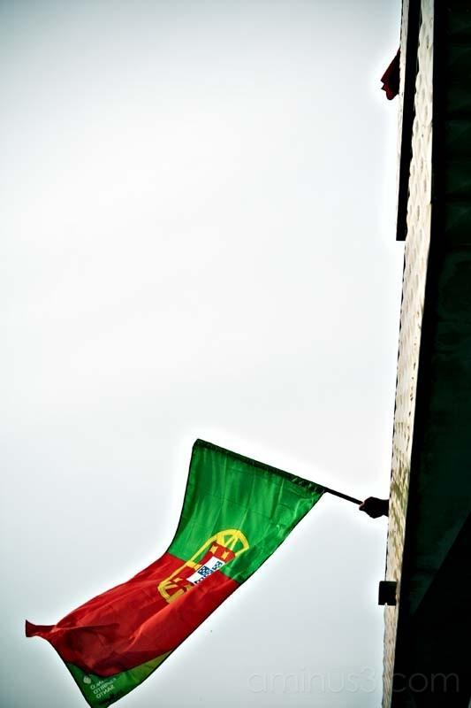 a hand waves a portuguese flag