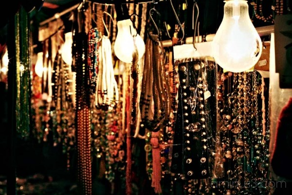 jewels hanging at night in a traditional market