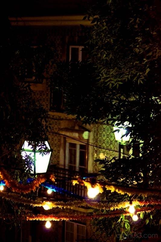 lisbon street at night, june festivities decor