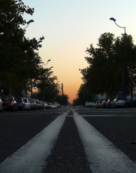 Shot of a street from the ground