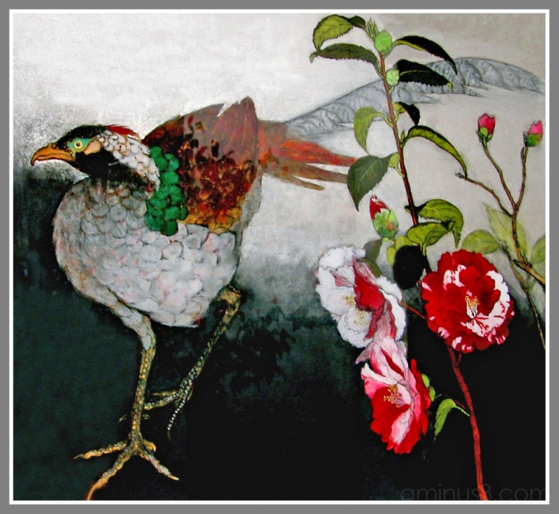 Silver Pheasant and Camellia, a painting