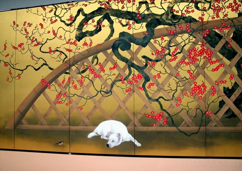Detail of one of Susumu MAKI's folding screens