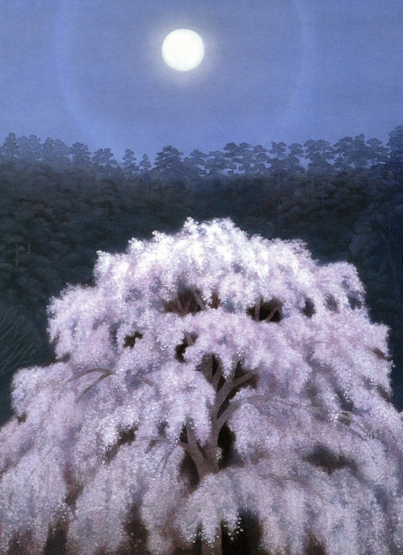 Moonlit Cherry Blossoms, Japanese painting