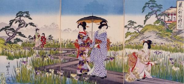 Beauties in the iris garden (by Yosai Enichi-1894)