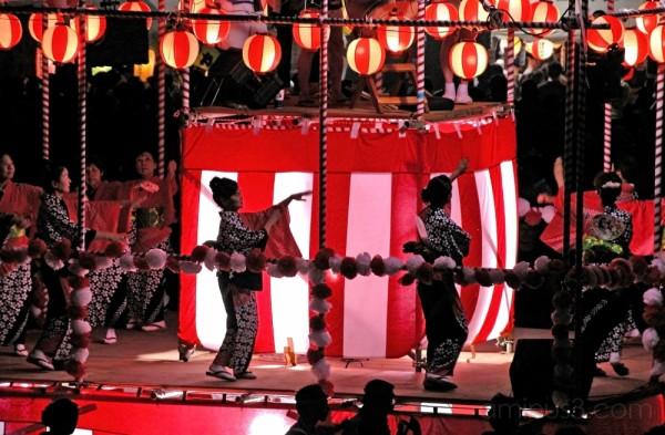 The Bon Odori dancers in the night