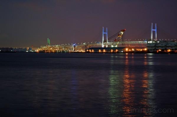 The Yokohama Bay Bridge at night