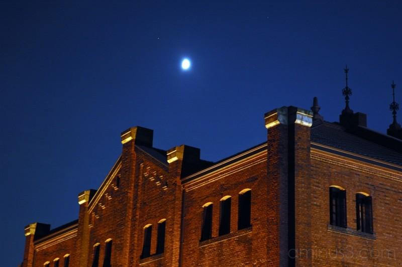 Moon over one Red Brick Warehouse