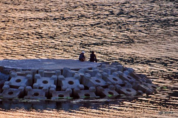 People on the pier at sunset, Mutsu Bay,Tohoku