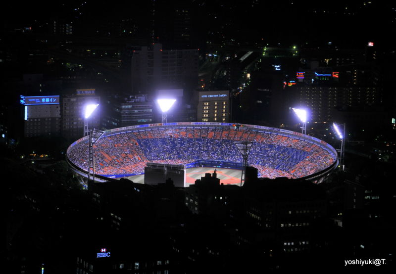 A baseball game at night, Yokohama Stadium