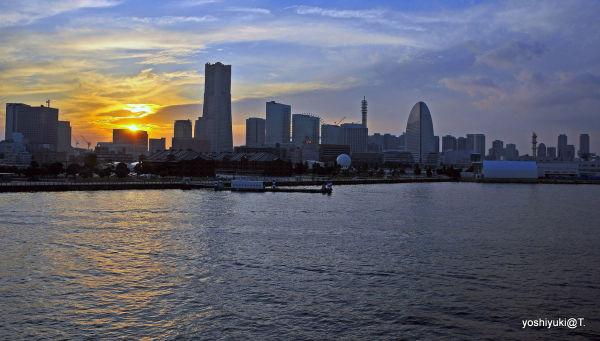 Sun setting over Yokohama