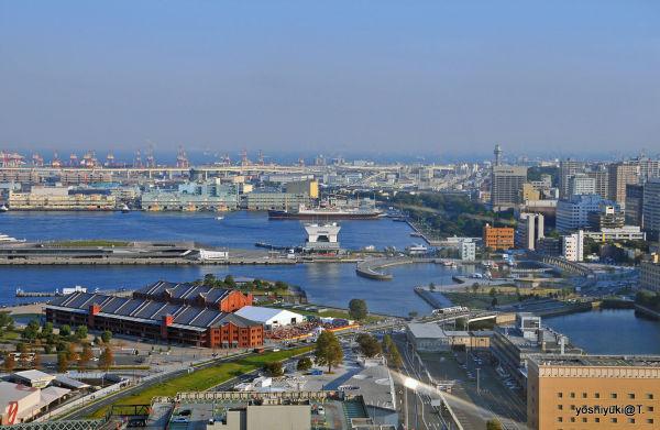View to the Bridge and Yamashita park,Yokohama