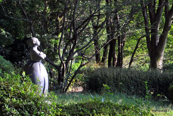 Sculpture among foliage,Showa Memorial Park,Tokyo
