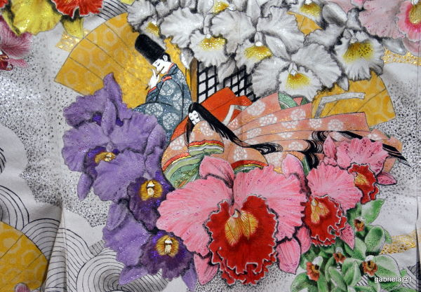 Detail of a furisode, painting on silk