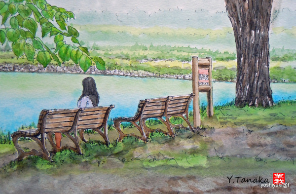 Watercolor of a young lady by the pond