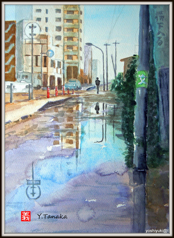 My husband's watercolour - Street after rain
