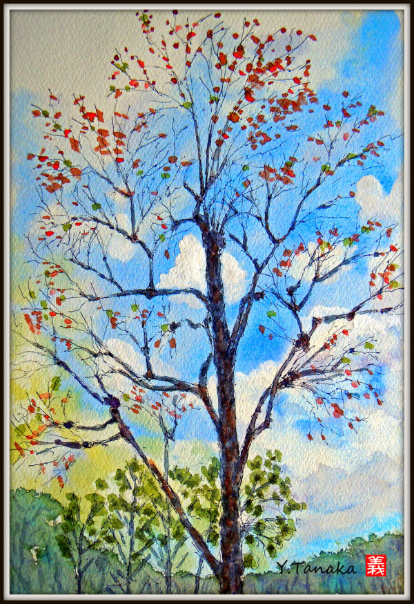 Tree in autumn - a watercolour