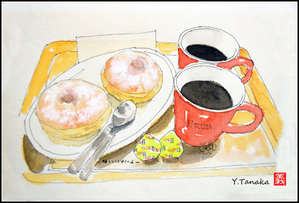 "Doughnuts & coffee at ""Mr.Donut"""