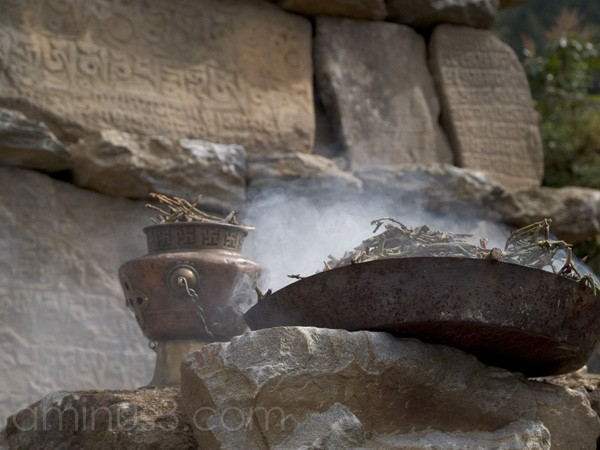 Burning incense, Khumbu, Nepal