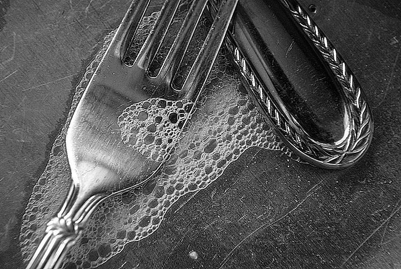 silverware in the sink