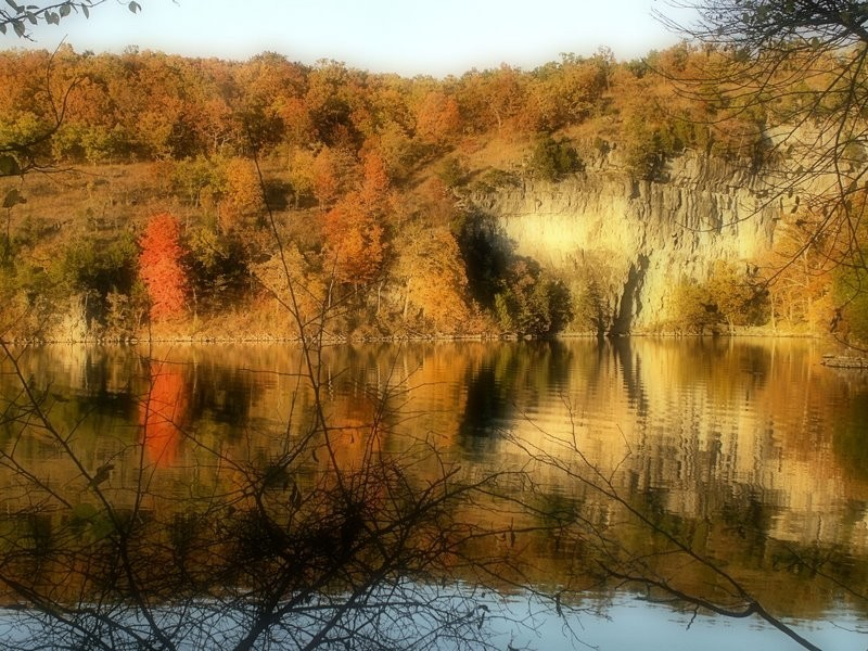 Autumn tree reflected in ozark lake.