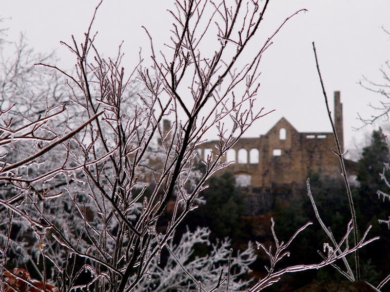 Ice storm hits the Ha Ha Tonka Ruins in Ozarks.
