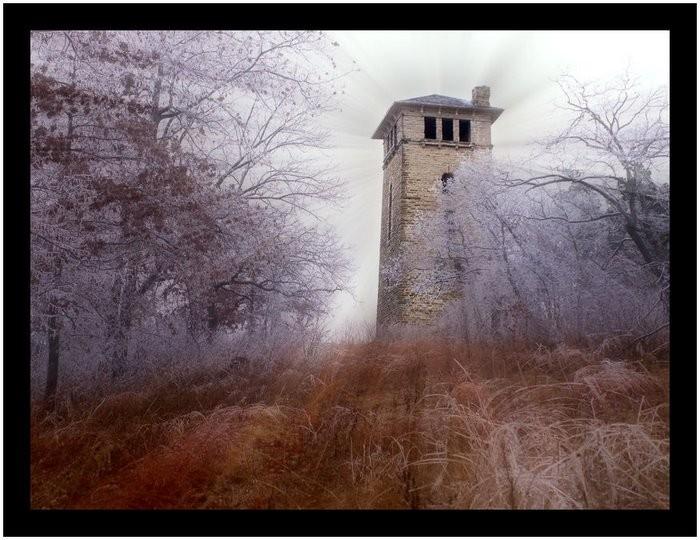 Ha Ha Tonka State Park Water tower in winter.
