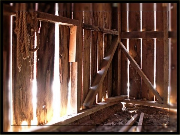 Sunlight glowing through cracks in an old shed.