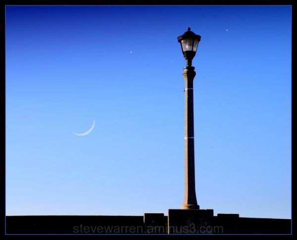 Lamppost, Moon, and Stars