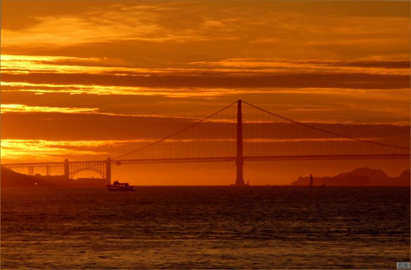 orange sunset san-francisco water california
