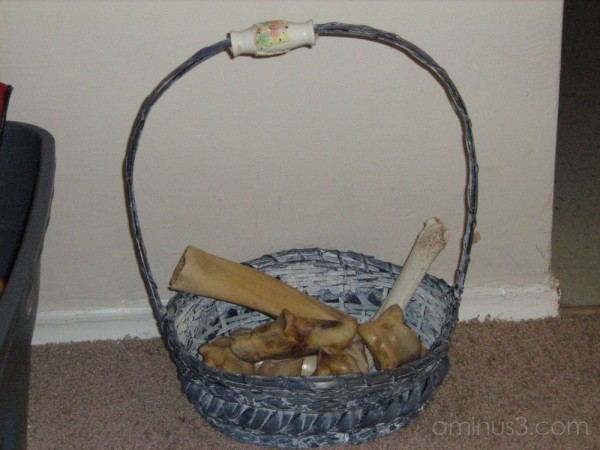 basket of dog bones