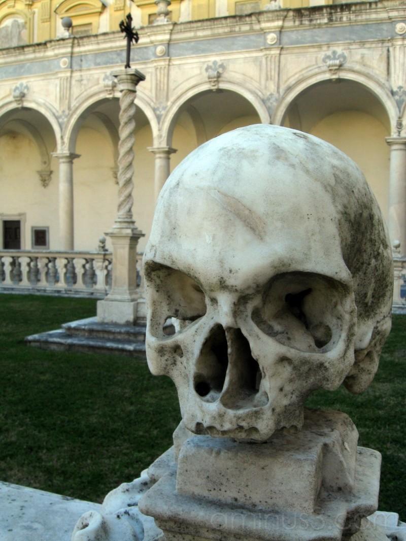 Marble skull of abbey's graveyard