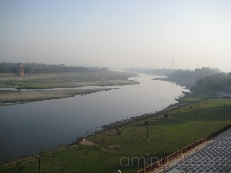 view of the yamuna river from the taj mahal