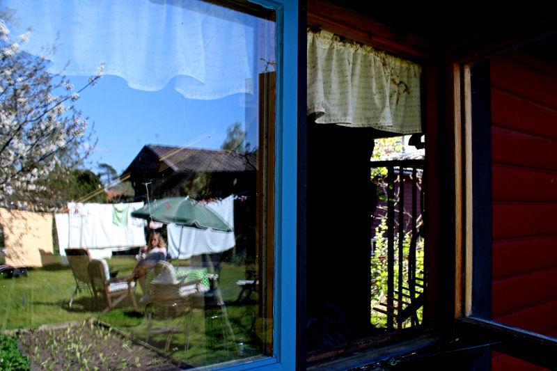 Through windows.