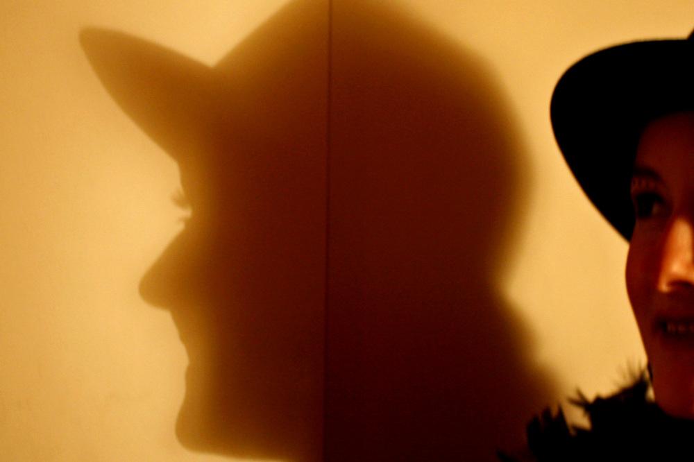 She casts shadows. Garbo-like.