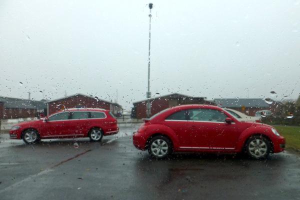 VW in the rain.
