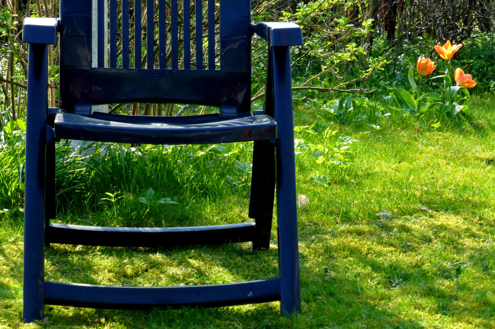The blue chair.