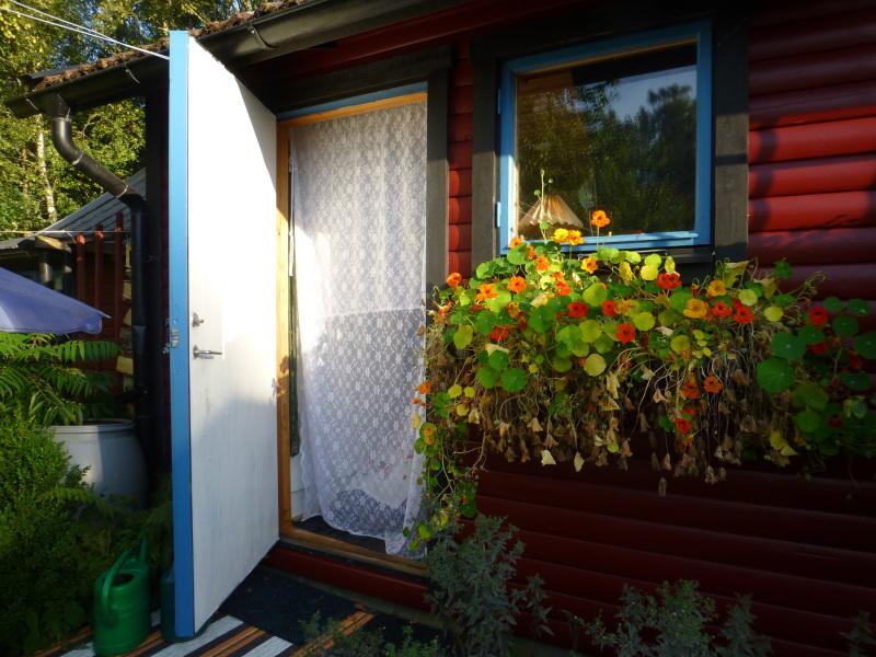 An open door.
