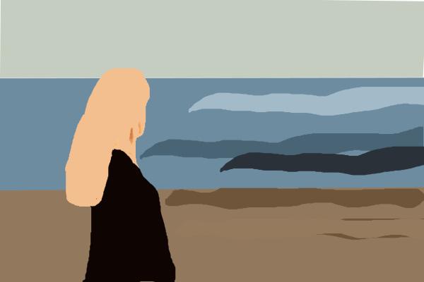 On the beach.