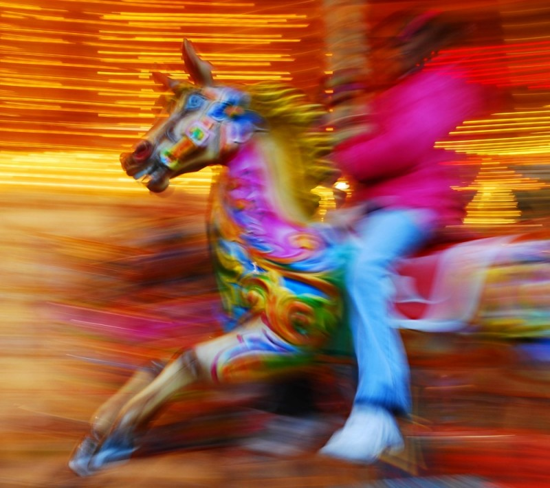 colour motion on roundabout or merry-go-round