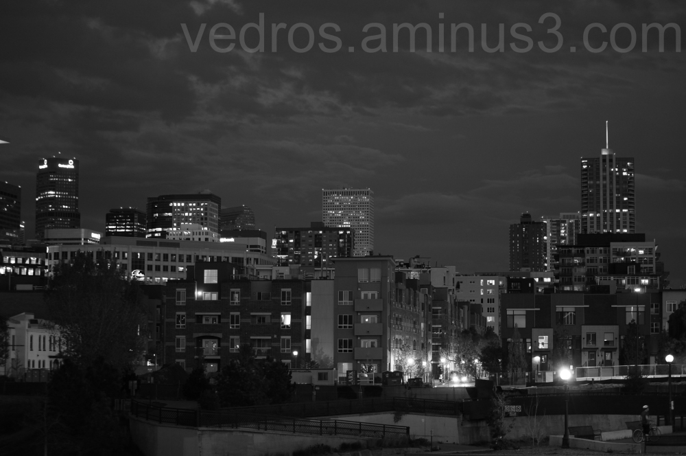 downtown, denver, black and white