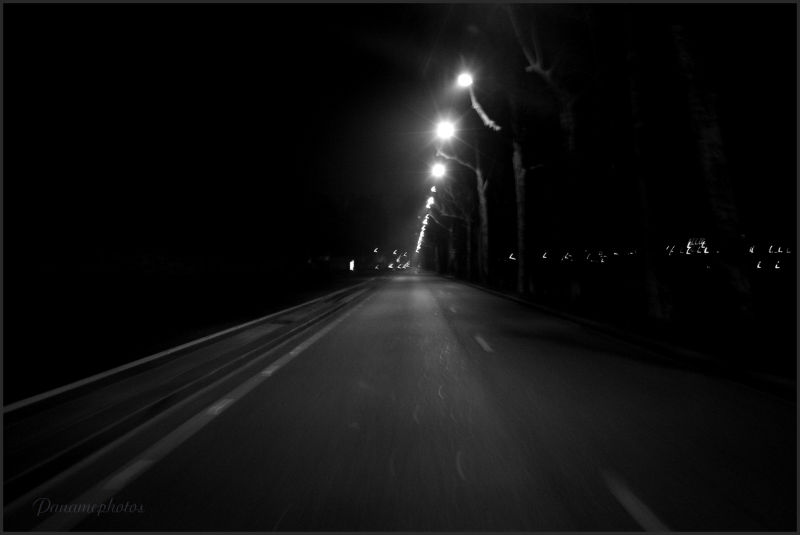 The road and the lights blafardes of the night