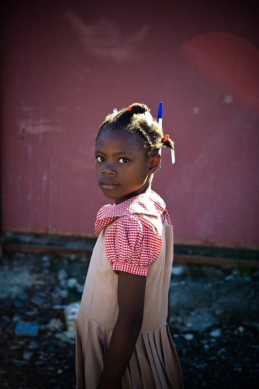 haitian girl on the way to school