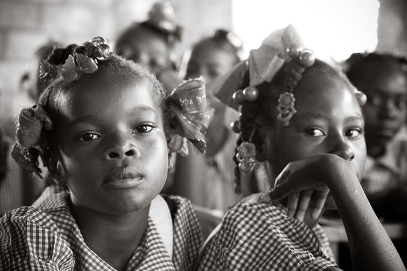 Haitian school girls give some attitude